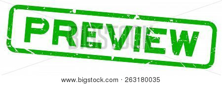 Grunge Green Preview Word Square Rubber Seal Satmp On White Background
