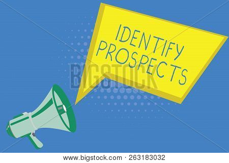 Handwriting text writing Identify Prospects. Concept meaning Possible client Ideal Customer Prospective Donors poster