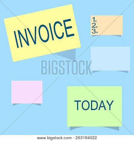 Word Writing Text Invoice. Business Concept For List Of Goods Sent Services Provided With Sums Finan