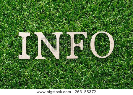 Wood Letter In Word Info On Artificial Green Grass Background