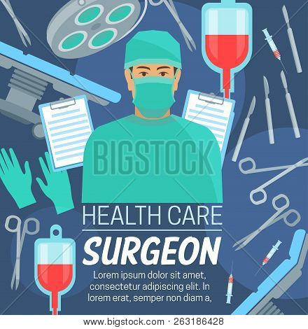 Surgeon Profession, Medical Center Or Clinic Service. Vector Surgery Table And Doctor In Mask, Sciss