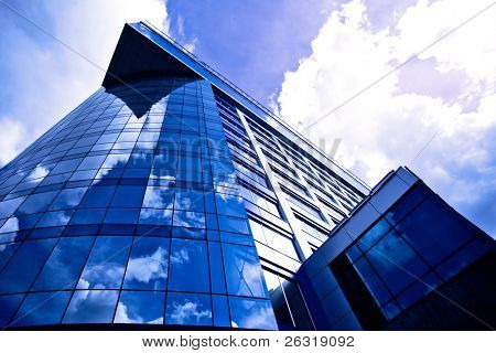 Underside view to glass wall of business centre, Moscow, Russia