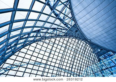 Abstract wide blue airport ceiling interior background