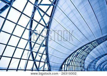 Abstract blue wall interior background, horizontal left composition
