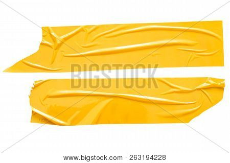 Set Of Yellow Tapes On White Background. Torn Horizontal And Different Size Yellow Sticky Tape, Adhe