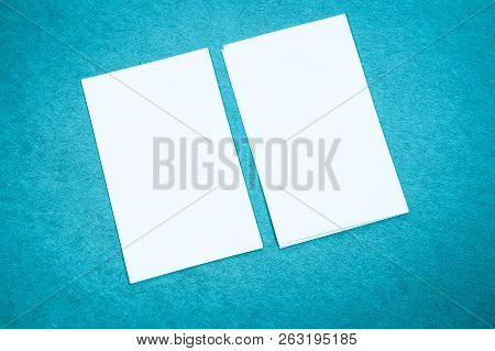 Blank Portrait Mock-up Paper. Brochure Magazine Isolated On Blue, Changeable Background / White Pape