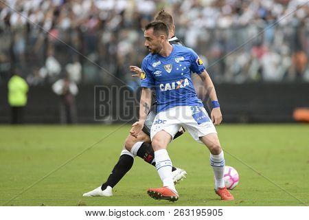 Rio, Brazil - October 14, 2018: Mancuello Player In Match Between Vasco And Cruzeiro By The Brazilia