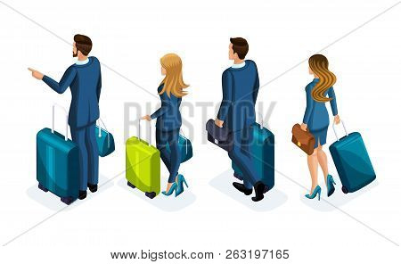 Isometric Set Of Beautiful Business People And Business Woman On A Business Trip, With Luggage At Th