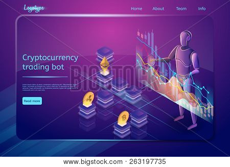 Cryptocurrency Trading Bot. Robot Assistant Concept. Optimization Process, Trading, Digital Technolo