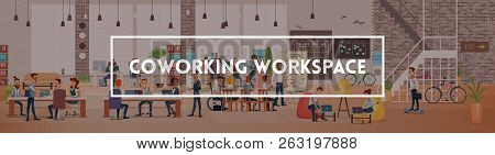 Coworking Workspace. Office Fun. People Work In Office. Happy Workers In Workplace. Men And Women Wo
