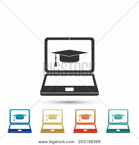 Graduation Cap And Laptop Icon Isolated On White Background. Online Learning Or E-learning Concept I
