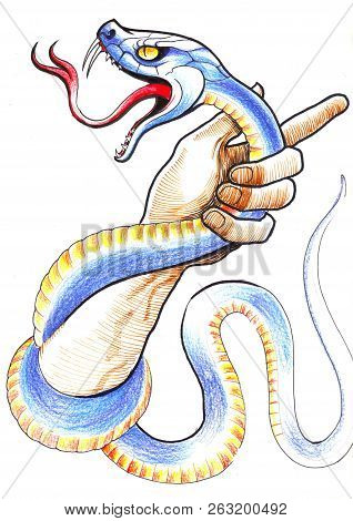 Hand Struggling With A Snake. Ink And Color Pencil Illustration