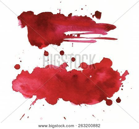 Blood Splatter Painted On White For Halloween Design. Red Dripping Blood Drop Watercolor