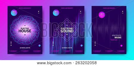 Electronic Music Poster Concept. Amplitude Of Distorted Dotted Color Lines. Abstract Covers For Danc