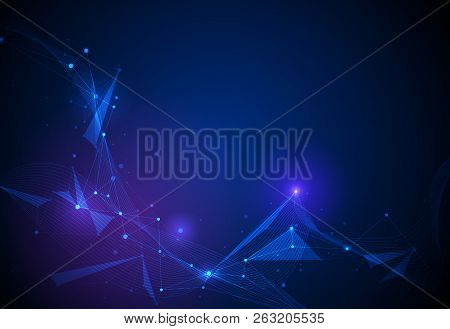 Vector Illustration Technology On Blue Background. Abstract Internet Network Connection Design For W