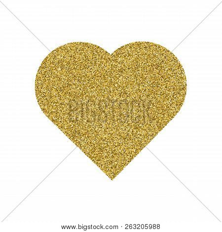 Gold Heart. Granular Dot Mosaic. The Shape Of Heart Is Filled With A Plenty Of Gold Or Yellow Points