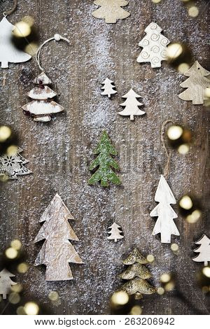 Rustic Wood Background For Christmas With Copy Space For All Christmas Design. Old Wood Texture Deco