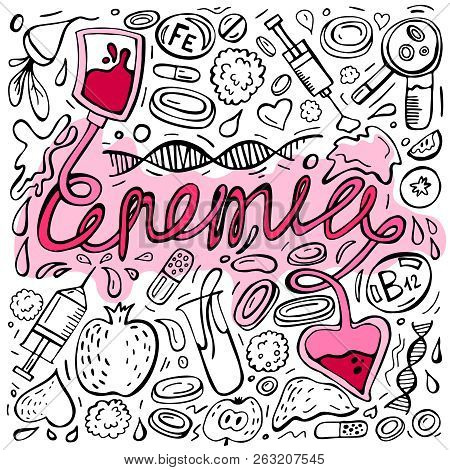 Creative anemia background with lettering in doodle style. Hand drawn vector illustration in black and pink colors isolated on white background. Medical, healthcare and educational concept. poster