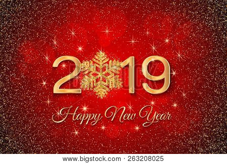 New Year 2019 Greeting Card. 2019 Golden New Year Sign With Golden Snowflake And Glitter On Red Back