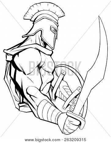 Line Art Illustration Of Spartan Warrior Holding Sword And Ready For Battle.