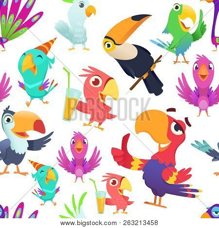 Parrots Pattern. Toucan Tropical Colored Birds Summer Exotic Seamless Vector Illustrations In Cartoo