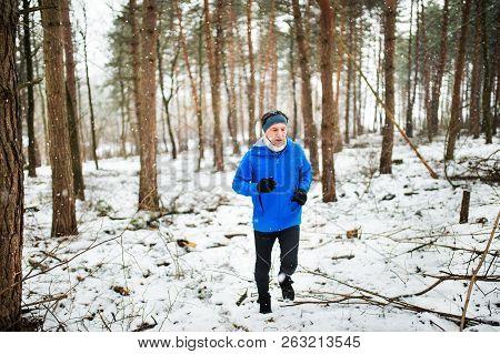 Senior Man Jogging In Woodland In Winter Nature.