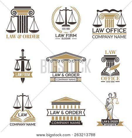 Badges Of Law And Legal. Hammer Of Judge, Legal Code Black Illustrations Of Labels For Jurisprudence