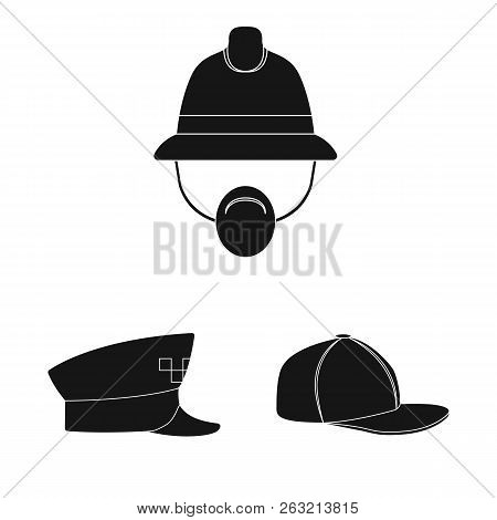 Isolated Object Of Headgear And Cap Symbol. Collection Of Headgear And Accessory Vector Icon For Sto