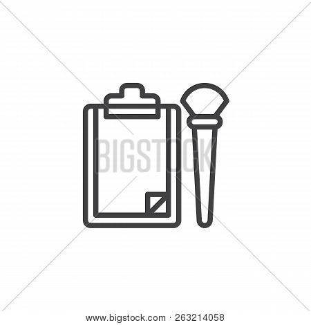 Paper Clipboard And Brush Outline Icon. Linear Style Sign For Mobile Concept And Web Design. Forensi