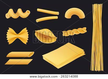 Italian Pasta Realistic Icon. Traditional Food Spaghetti Macaroni Fusilli Cooking Yellow Ingredients