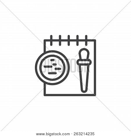 Forensics Equipment Outline Icon. Linear Style Sign For Mobile Concept And Web Design. Evidence Note