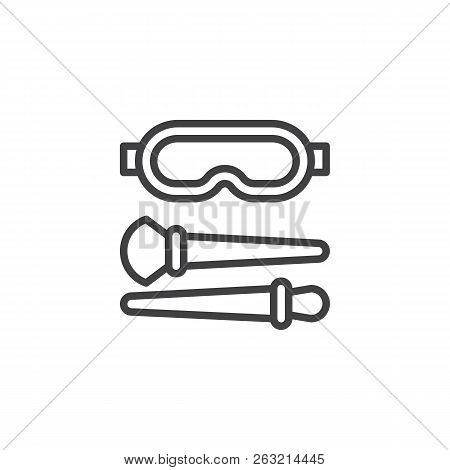 Powder Brushes And Glasses Outline Icon. Linear Style Sign For Mobile Concept And Web Design. Forens