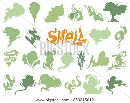 Bad Smell. Steam Smoke Clouds Of Cigarettes Or Expired Old Food Vector Cooking Cartoon Icons. Illust