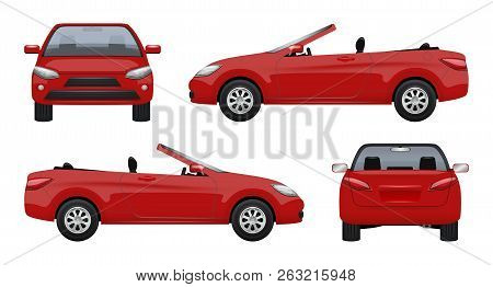 Cabriolet Car. Luxury Vehicle Super Sports Car Business Cab On Road Vector Realistic Pictures. Auto
