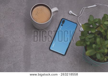 Warsaw, Poland - October 07,2018: Smartphone Huawei P20 Pro In Blue Colour.