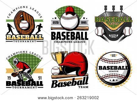 Baseball Sporting Heraldic Icons. Vector Leather Glove And Balls, Trophy Cup And Uniform, Player And