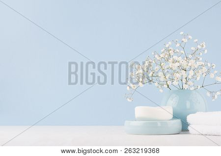 Elegant Acessories For Dressing Table - Soft Pastel Blue Ceramic Bowls, White Flowers, Products For