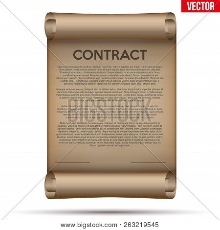 Concept Of Attentive And Careful Research Legal Contract Before Signing. Contract Document On Scroll