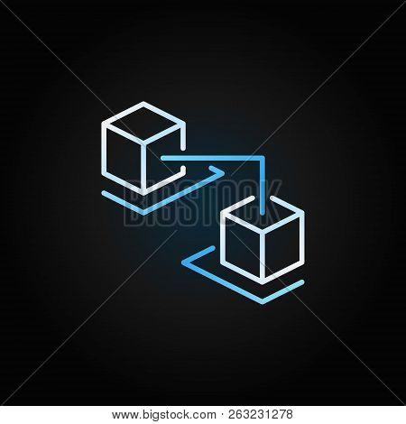 Blockchain Cubes Creative Line Icon. Blockchain Technology Vector Sign In Outline Style On Dark Back