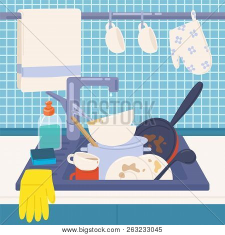 Kitchen Sink Full Of Dirty Dishes Or Kitchenware To Wash, Detergents, Sponge And Rubber Gloves. Mess
