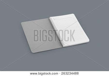 Notebook Mockup For Your Design, Image, Text Or Corporate Identity Details. Vertical Blank Copybook