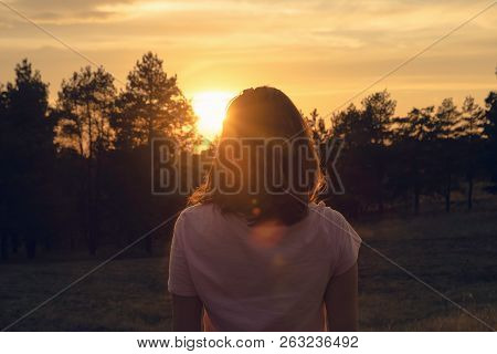 Woman In Nature In Sunset. People In Nature.beautiful Woman In Meadow Summer. Beautiful People. Happ
