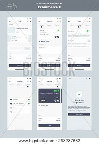 Wireframe Kit For Mobile Phone. Mobile App Ui, Ux Design. New Ecommerce Screens: Cart, Checkout, Ord