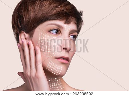 Close Up Of A Portrait Of A Beautiful Woman Who Wants To Lift Face To Remove Wrinkles And Skin Rejuv
