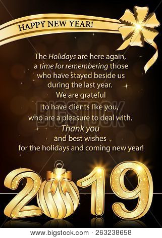 Business Greeting Card For Christmas And New Year 2019