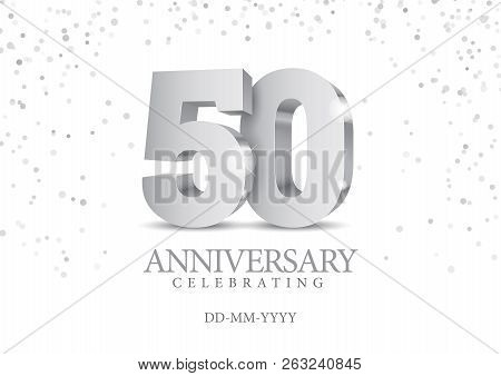 Anniversary 50. Silver 3d Numbers. Poster Template For Celebrating 50th Anniversary Event Party. Vec