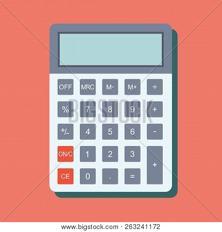 Calculator Icon In Flat Style. Calculator Isolated On A Colored Background. Vector Electronic Calcul