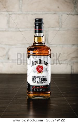 Moscow, Russia - April 24 2018: Jim Beam Bourbon Bottle On Wooden Table. Jim Beam Is A Famoгs Brand