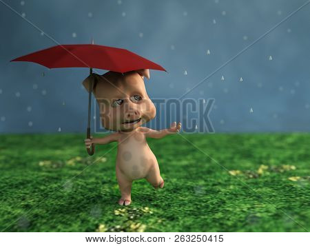 3d Rendering Of A Cute Cartoon Pig Holding A Red Umbrella In The Rain.