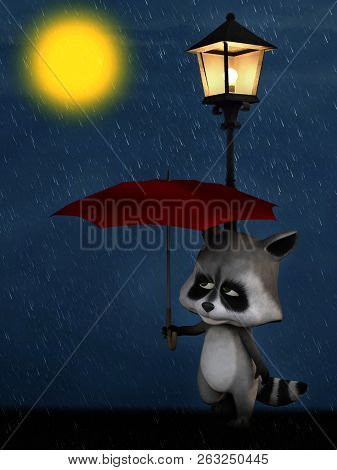 3D Rendering Of A Cartoon Racoon In The Rain At Night.